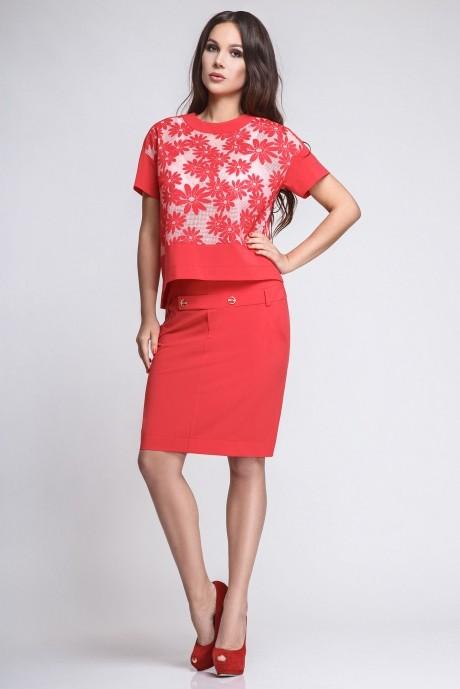 Юбочный костюм /комплект Teffi Style 1186 красный