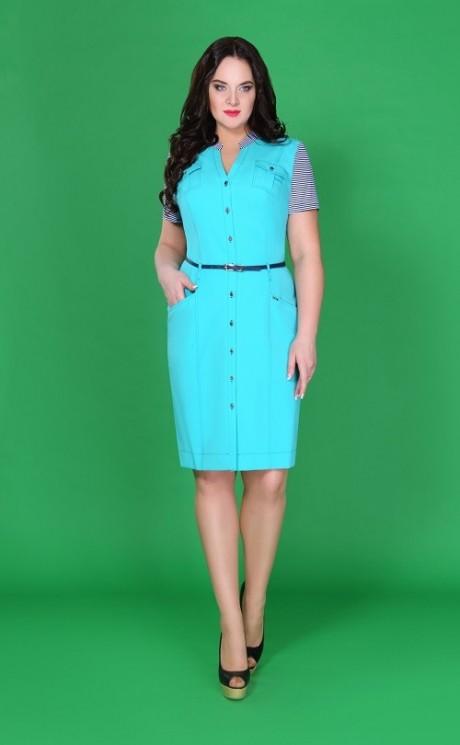 Повседневное платье Azzara 197B бирюза+полоска