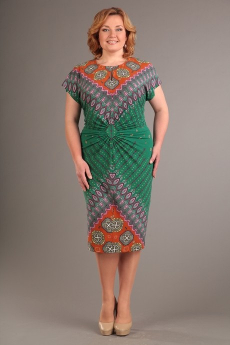 Летнее платье Diomant 1087 зеленый/терракот
