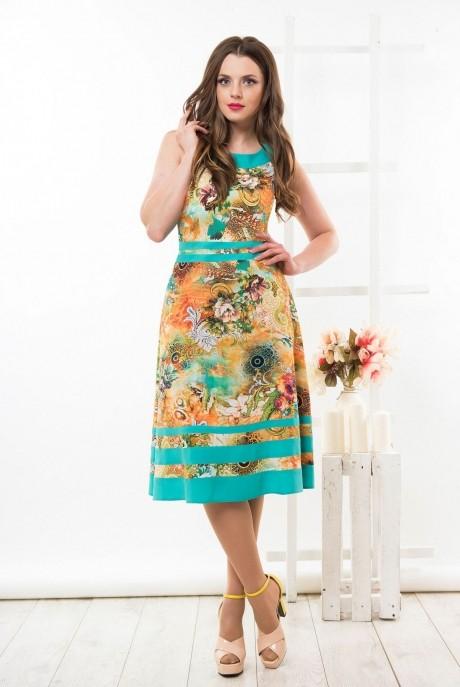 Летнее платье Ksenia Stylе 1290 отделка бирюза