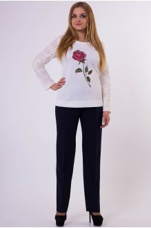 Брючный костюм /комплект Надин-Н 1285 молочно-белый/т. синий фото 1
