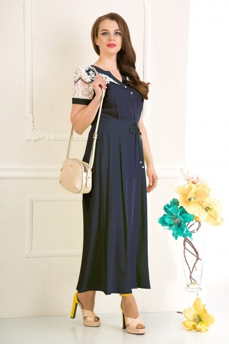 Длинное платье Лилиана 476 синий