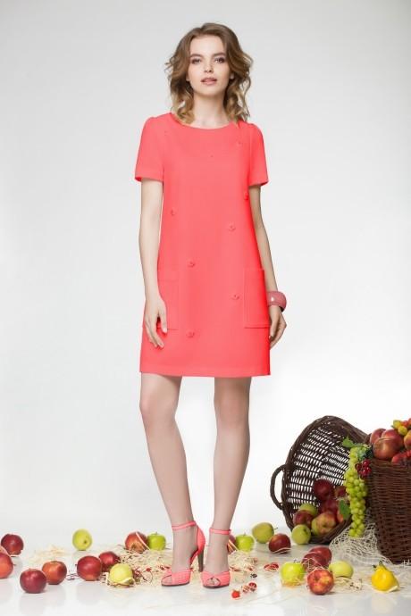 Летнее платье LeNata 11658-1 коралл