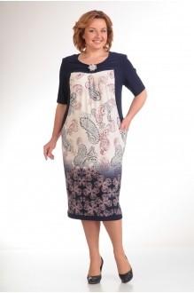 Повседневное платье Прити 440 синий/огурцы фото 1
