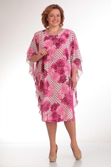 Повседневное платье Прити 441 розовый с горохом