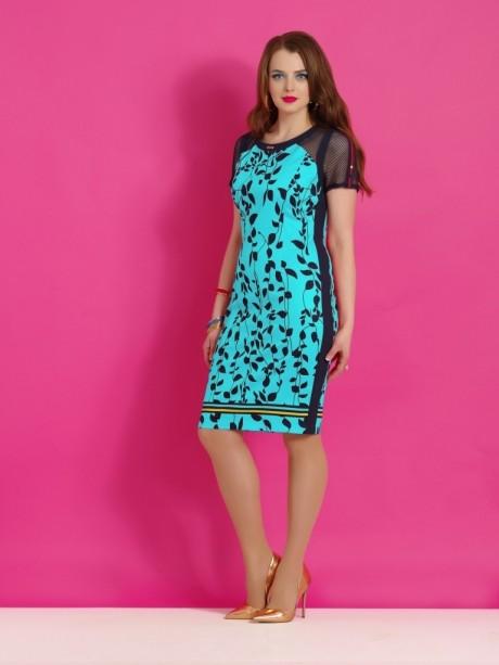 Повседневное платье Lissana 2861 бирюза/синий