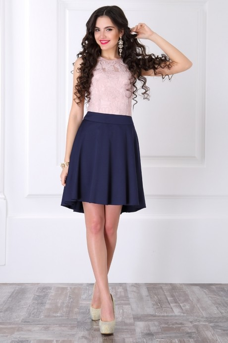 Вечернее платье ЛаКона 958 пудра/синий