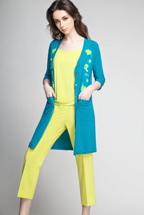 Брючный костюм /комплект Teffi Style 1190 /2 темная бирюза/топ и брюки лайм
