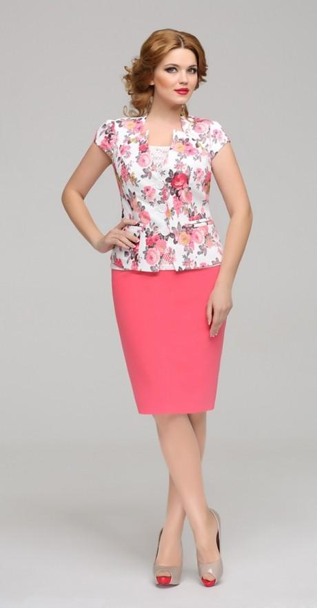 Юбочный костюм /комплект ЛаКона 744 бело-розовый