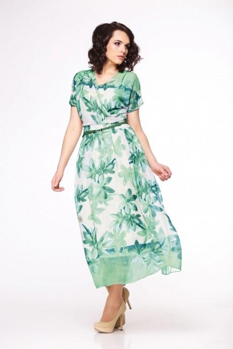 Длинное платье Golden Vallеy 4247 цветы/бирюза