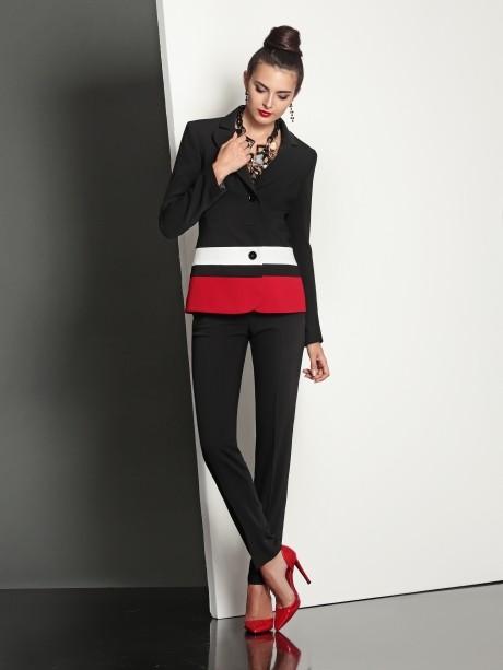 Брючный костюм /комплект Твой Имидж 4031 черно-красный
