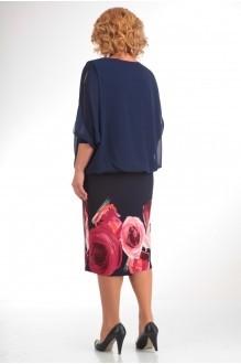 Повседневное платье Прити 464 темно-синий/красные цветы фото 2