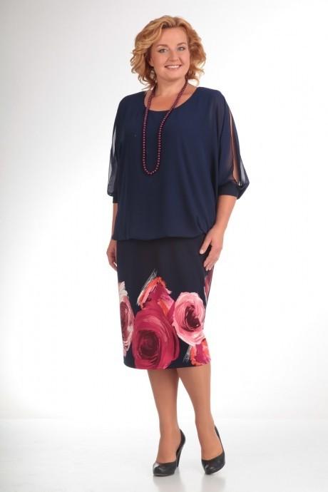 Повседневное платье Прити 464 темно-синий/красные цветы