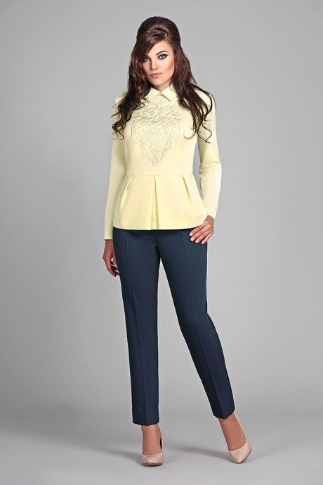 Брючный костюм /комплект Мублиз 022 лимон+синий