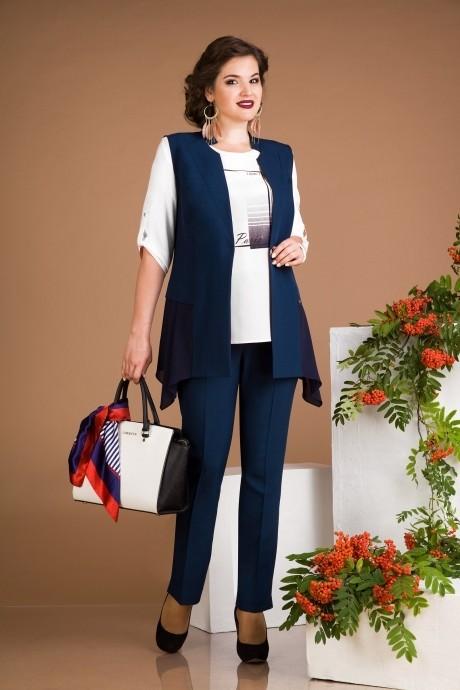 Брючный костюм /комплект Лилиана 485B белый+синий