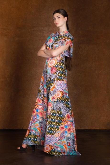 Длинное платье Rosheli 127 (3) оранжевый/огурцы