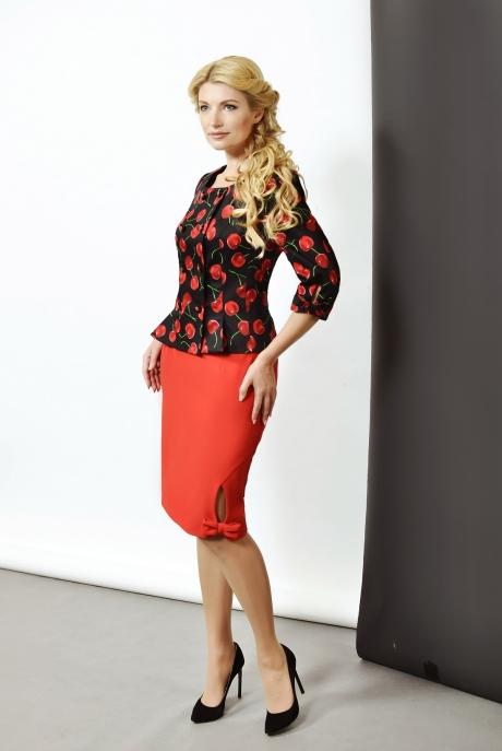 Юбочный костюм /комплект SandyNa 1310 (5) вишня/красный