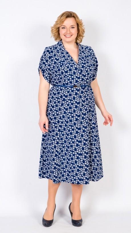 Повседневные платья TricoTex Style 2416 цветы на темно-синем