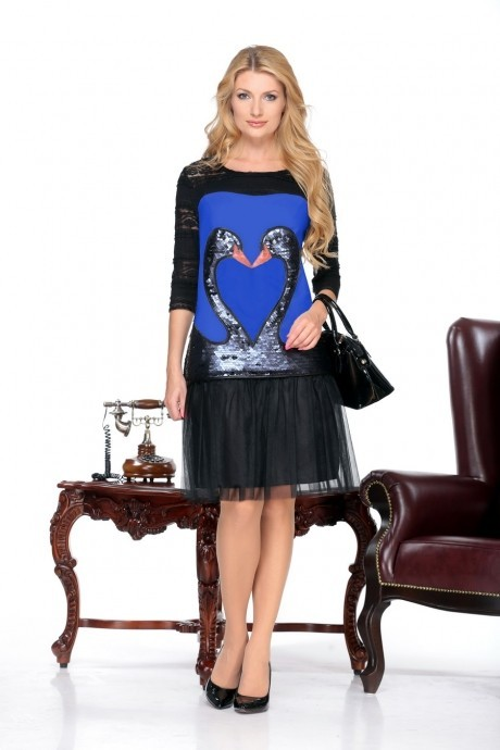 Повседневное платье Нинель Шик 5432 василек