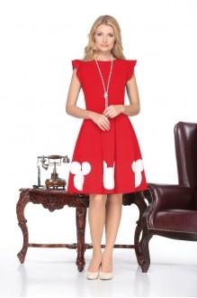 Юбочный костюм /комплект Нинель Шик 5437 белый/красный фото 2