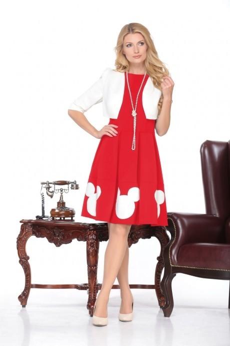 Юбочный костюм /комплект Нинель Шик 5437 белый/красный