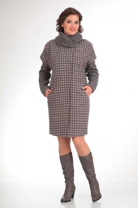 Пальто Diomant 1109 серый/розовая точка