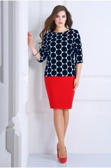 Юбочные костюмы /комплекты Matini 1.1011 синий горох/красная юбка фото 1