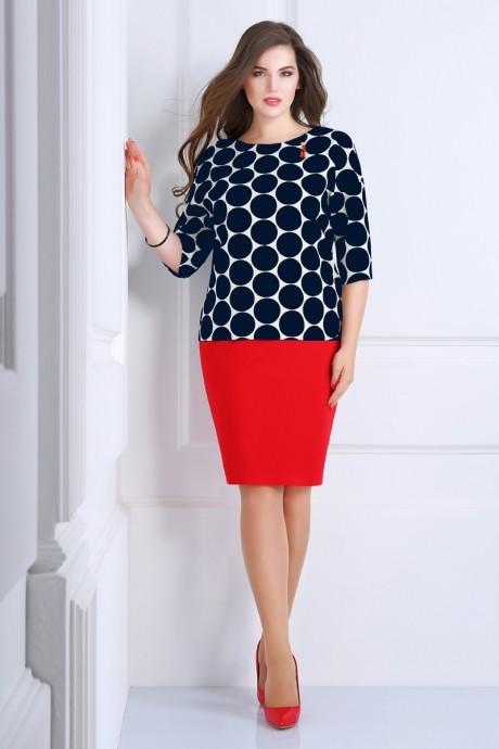 Юбочный костюм /комплект Matini 1.1011 синий горох/красная юбка