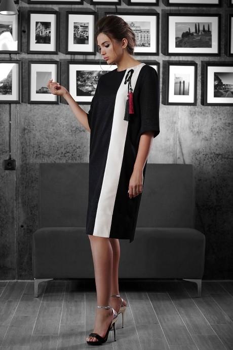 Повседневное платье Люше 1323 черный+белый