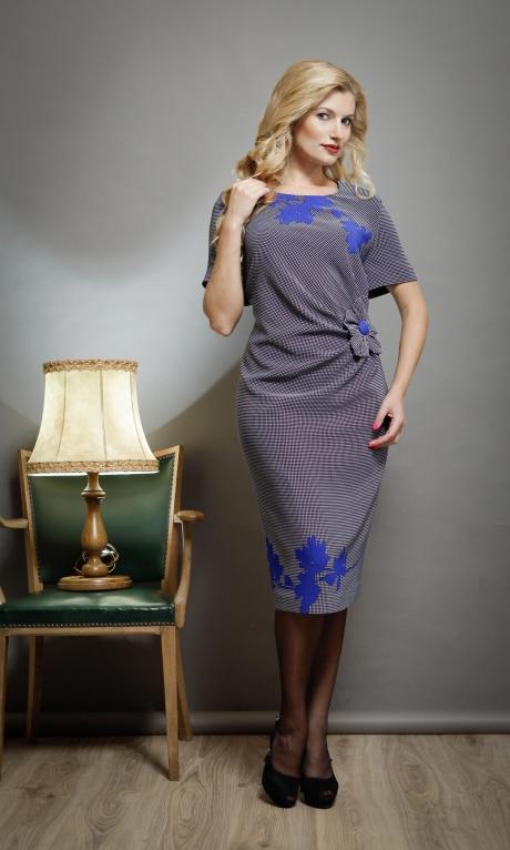 Повседневное платье SandyNa 13170 синий/точка