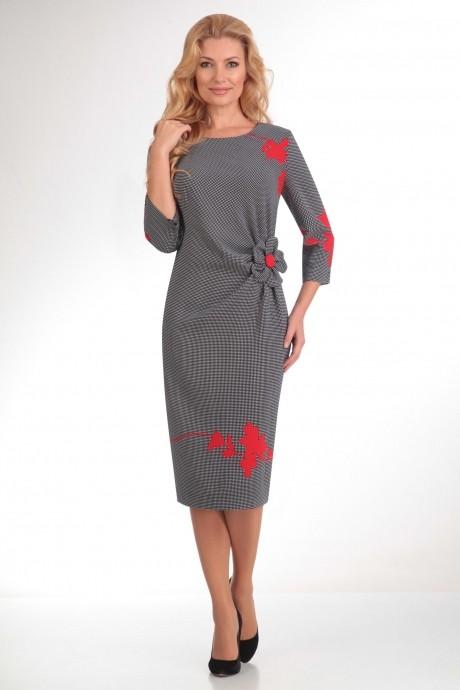 Повседневное платье SandyNa 13170 красный/точка