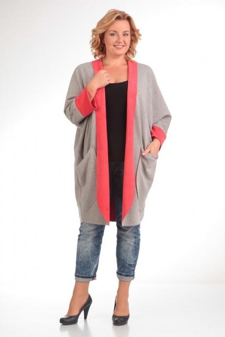 Джемпер (кофта) Прити 479 серый/розовый