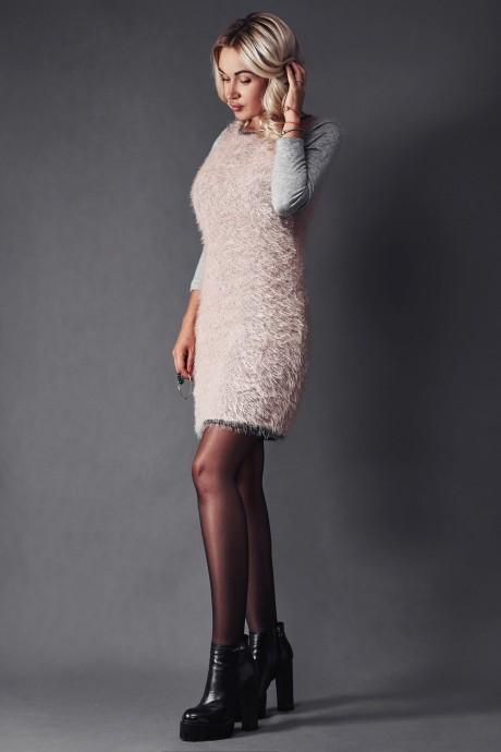 Вязаное платье Beauty 1866 пудра/серый