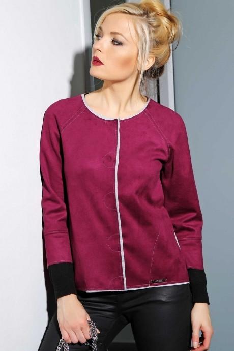 Жакеты (пиджаки) Azzara 3018Б  замша ежевичного цвета с серой отделкой