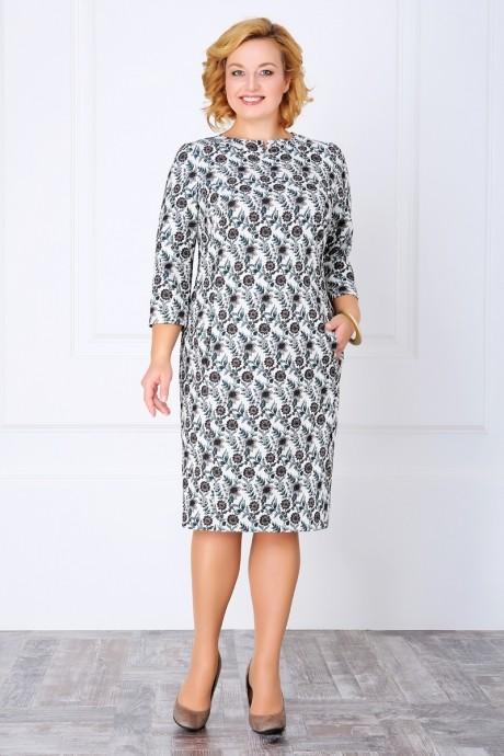Повседневное платье ЛаКона 989 молочный/зелень