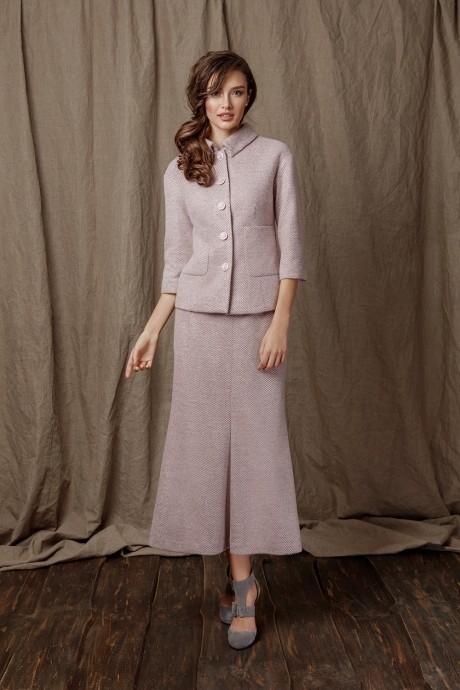 Юбочный костюм /комплект Prestige 2914 розовый в полоску