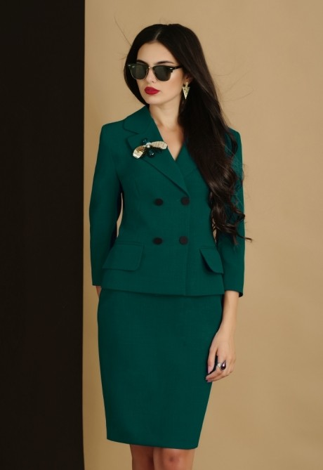 Юбочный костюм /комплект Lissana 2905/1 темно-зеленый