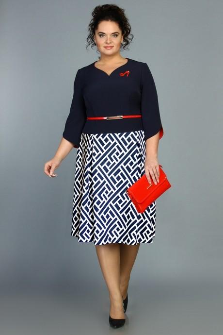 Повседневное платье ALANI COLLECTION 382 синий/дизайн переплетение