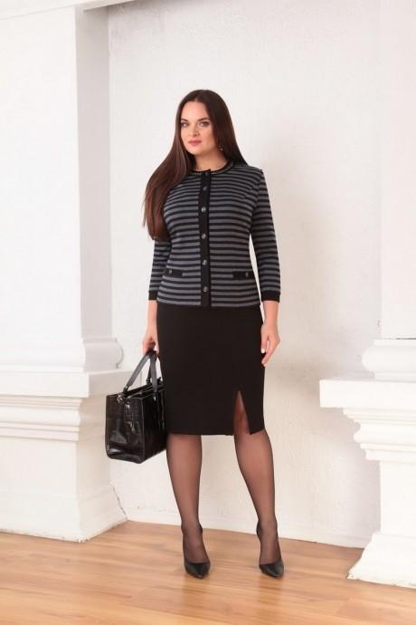 Юбочный костюм /комплект Ksenia Stylе 1332 серые полоски