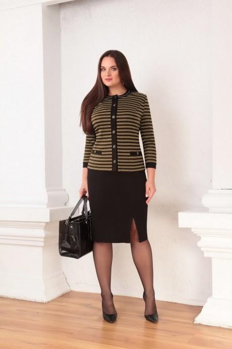 Юбочный костюм /комплект Ksenia Stylе 1332 горчичные полоски