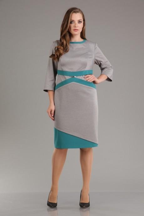 Повседневное платье Лиона-Стиль 556 бирюза+серый