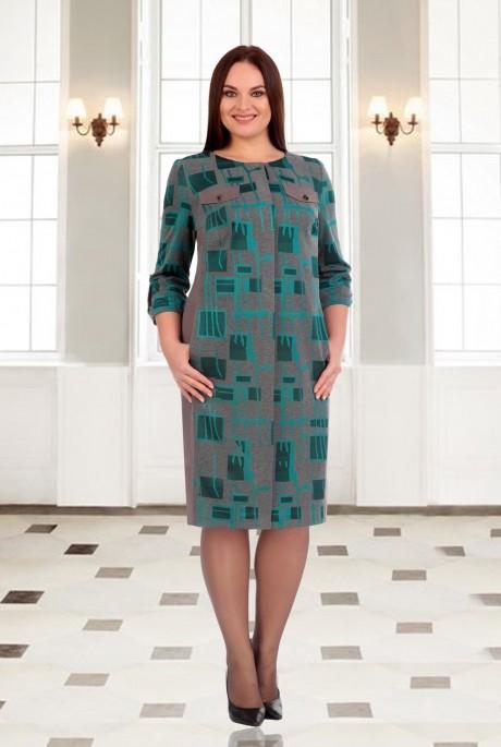Повседневное платье Мишель Стиль 538 серо-бирюзовый
