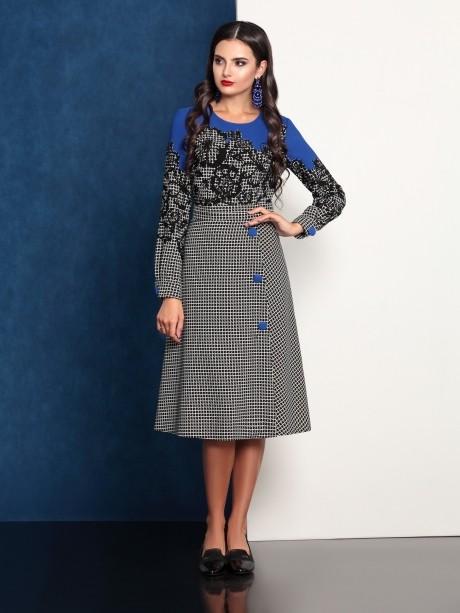 Повседневное платье Твой Имидж 4095 с синим верхом