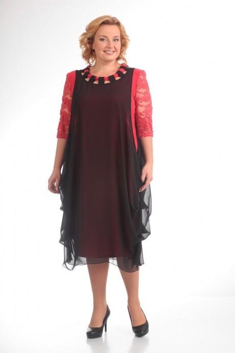Повседневные платья Прити 435 коралл/черный