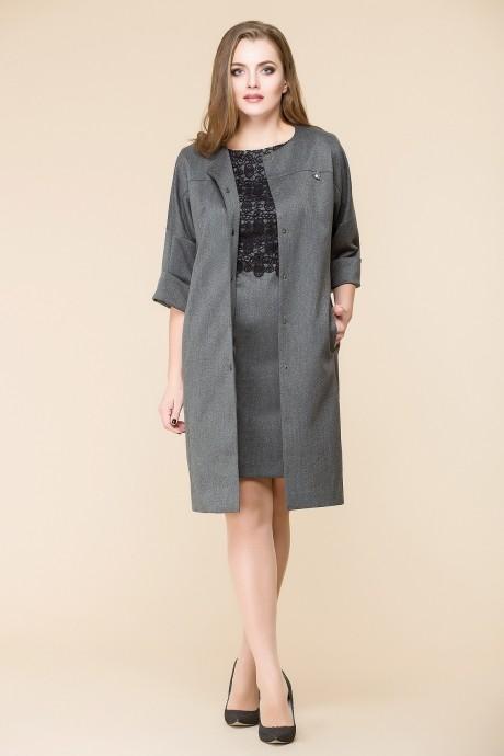 Юбочный костюм /комплект Romanovich Style 3-1393 серый/верх черный