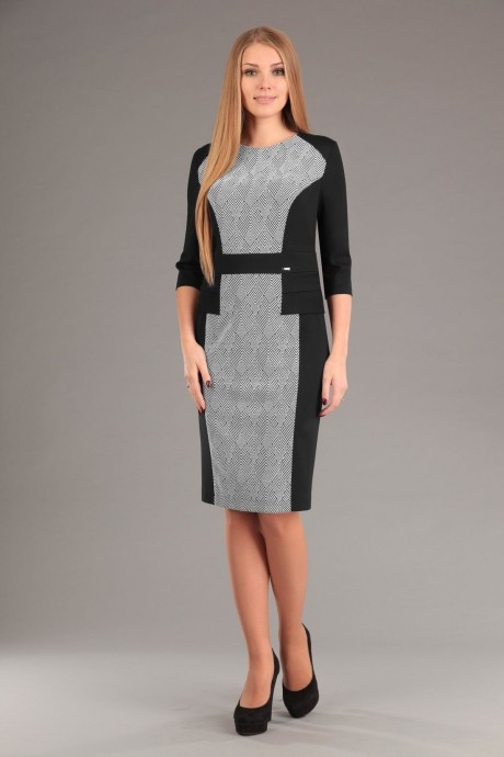Повседневное платье Эола-стиль 1267 зиг заг + черный
