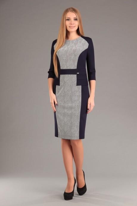 Повседневное платье Эола-стиль 1267 зиг заг + синий