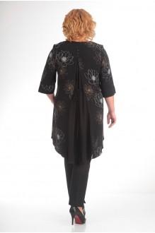 Брючные костюмы /комплекты Надин-Н 1314_6 чёрный/цветы фото 2