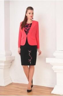 Ksenia Stylе 1345 черное платье/красный жакет