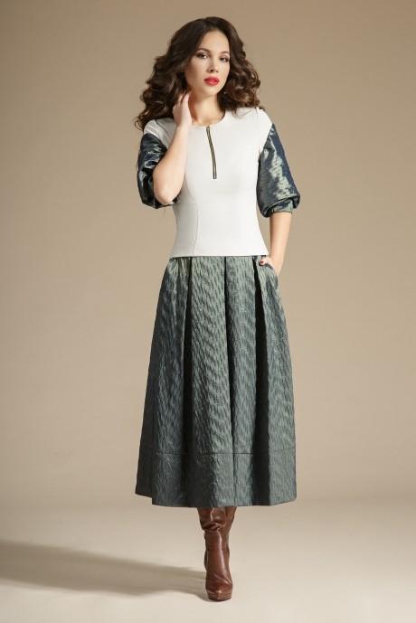 Юбочный костюм /комплект Teffi Style 1241 жемчуг+олива